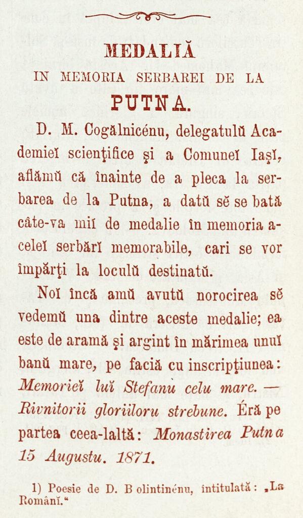 """""""Telegraful"""", 15 august 1871. Relatare despre medalia omagială realizată de Mihail Kogălniceanu."""