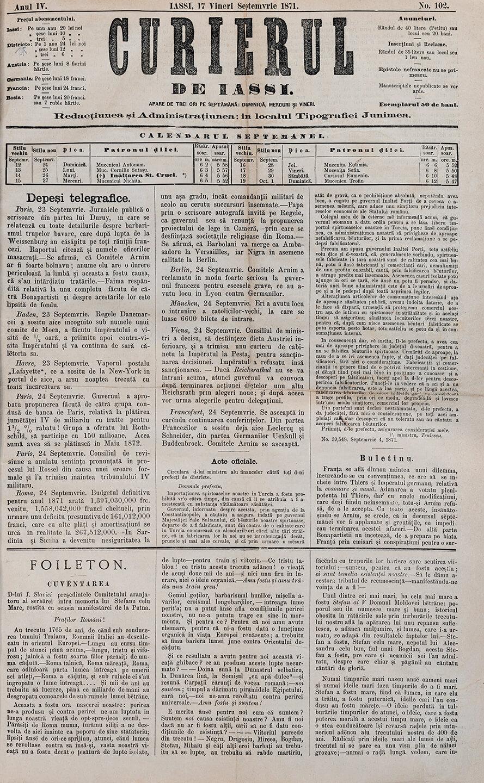 """""""Curierul"""" de Iași, 17 septembrie 1871"""